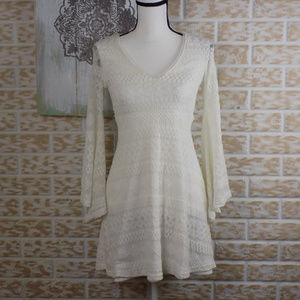 ❤HotGal white crochet midi long sleeve bell sleeve